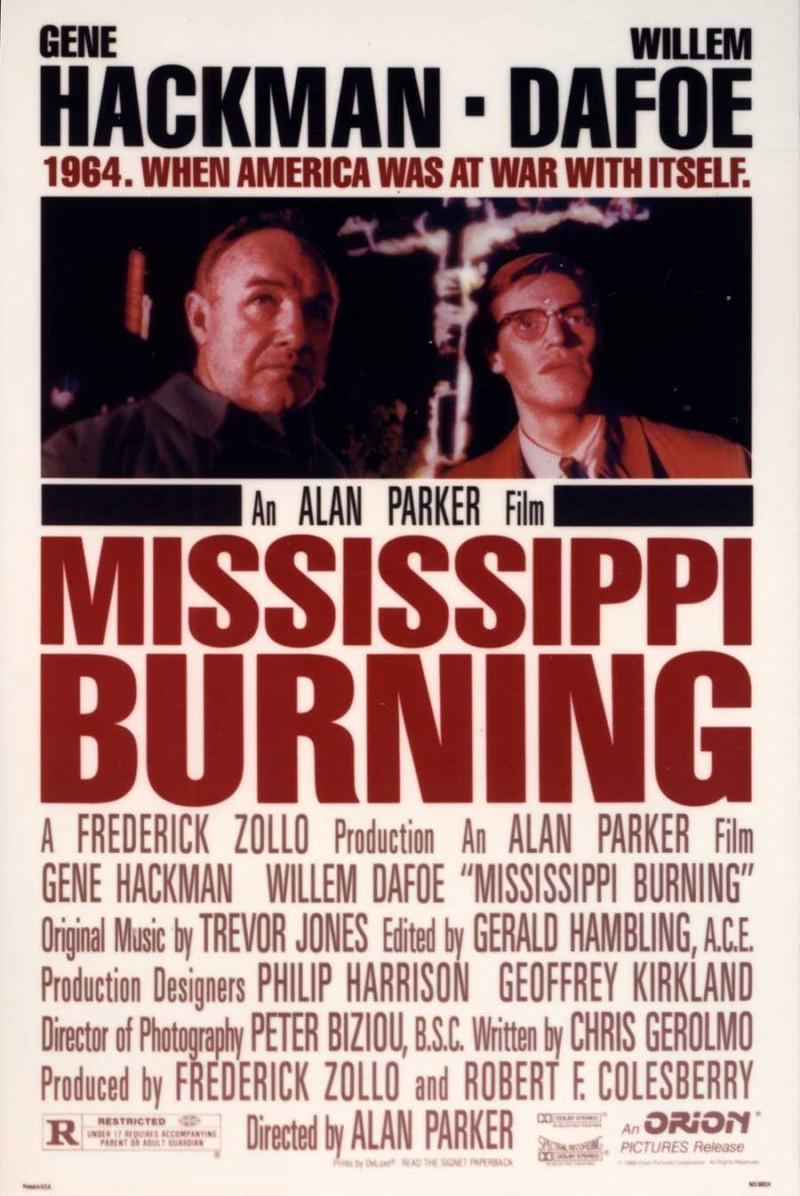 Mississippi Burning one sheet poster, Gene Hackman and Willem Dafoe