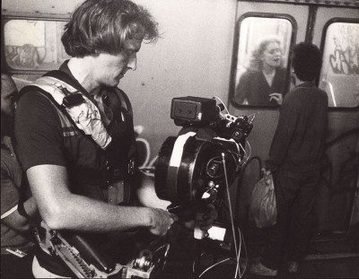 Garrett Brown and his  Steadicam, filming on the movie 'Fame'.