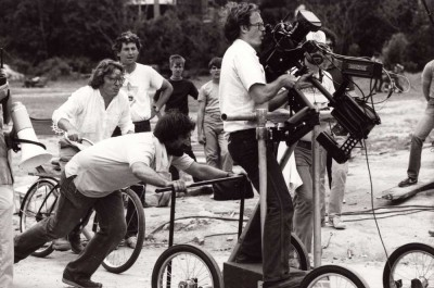 Alan Parker on bike with Steadicam on the film Birdy